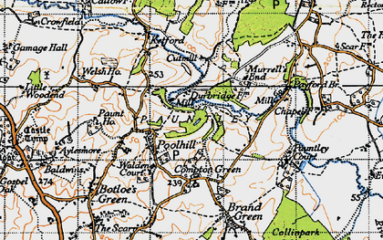 Old map of Pauntley Court in 1947