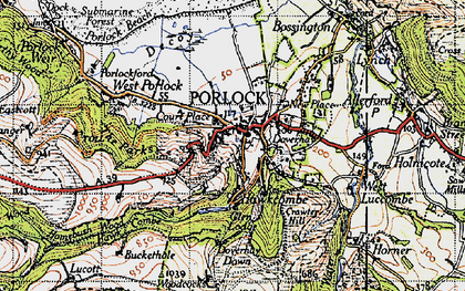 Old map of Porlock in 1946