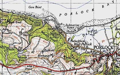 Old map of Porlock Weir in 1946