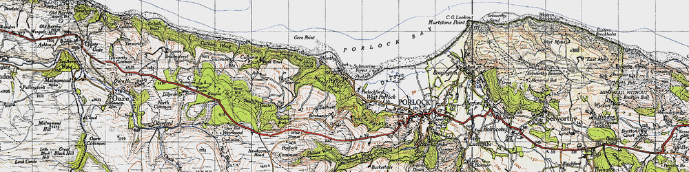 Old map of Whit Stones in 1946