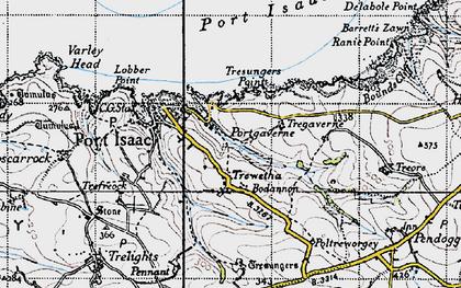 Old map of Port Gaverne in 1946