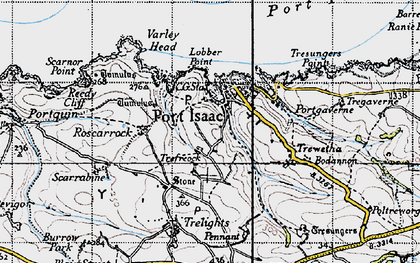 Old map of Port Isaac in 1946
