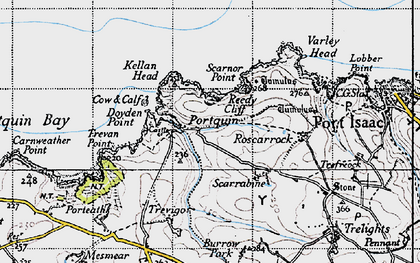Old map of Port Quin in 1946