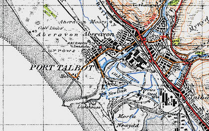 Old map of Port Talbot in 1947