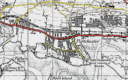 Old map of Portchester in 1945