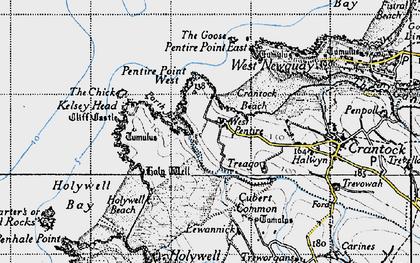 Old map of Porth Joke in 1946