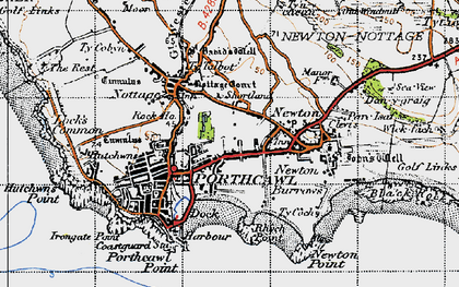 Old map of Porthcawl in 1947