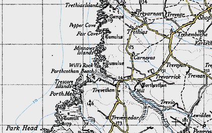 Old map of Porthcothan Bay in 1946