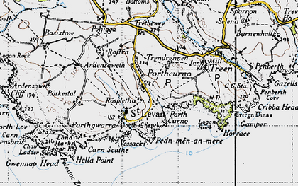 Old map of Porthcurno in 1946
