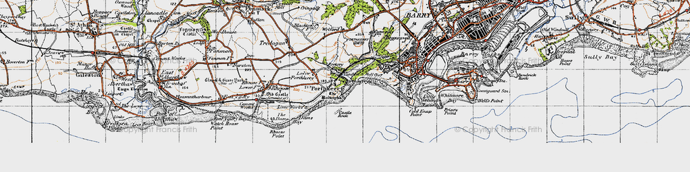 Old map of Porthkerry in 1947