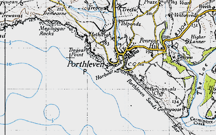 Old map of Porthleven in 1946