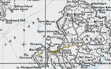 Old map of Bant's Carn in 1946