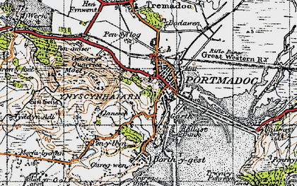 Old map of Porthmadog in 1947
