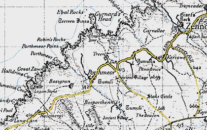 Old map of Gurnard's Head in 1946