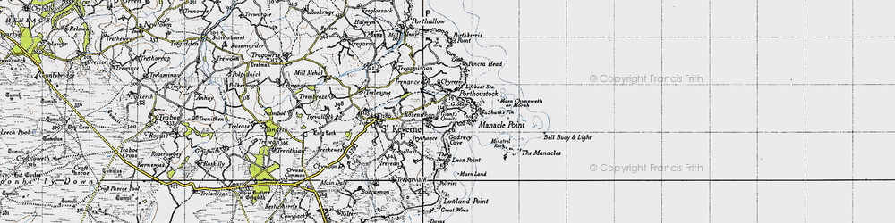 Old map of Porthoustock in 1946