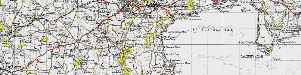 Old map of Porthpean in 1946
