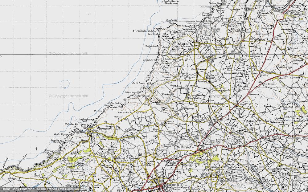 Old Map of Porthtowan, 1946 in 1946