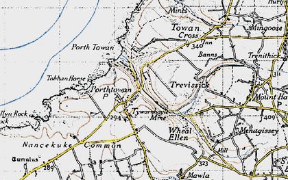 Old map of Porthtowan in 1946