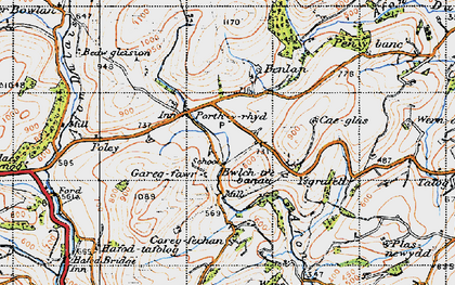 Old map of Aberbowlan in 1947