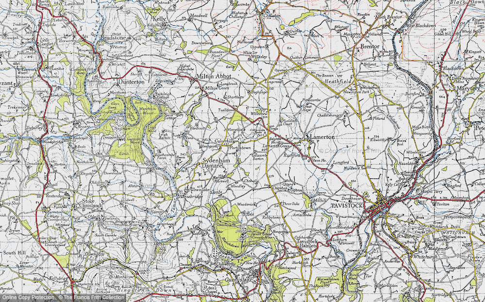 Old Map of Historic Map covering Wonwood in 1946