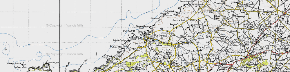 Old map of Portreath in 1946