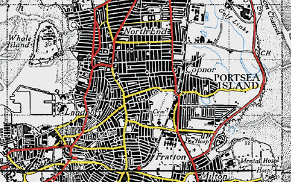 Old map of Portsea Island in 1945