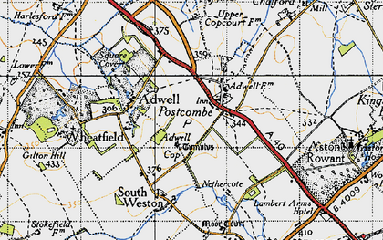 Old map of Adwell Cop in 1947