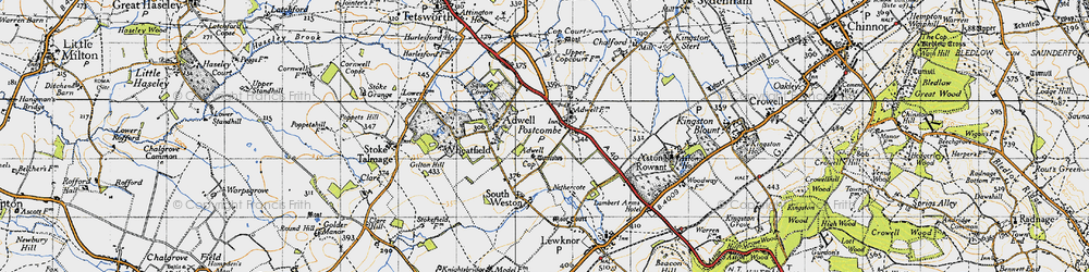 Old map of Adwell Cop (Mound) in 1947