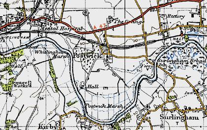 Old map of Whitlingham Marsh in 1945