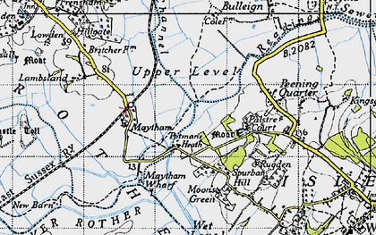 Old map of Wet Level in 1940
