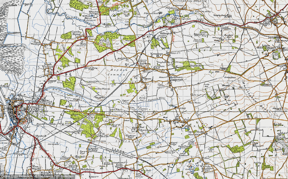 Old Map of Historic Map covering Leziate Fen in 1946