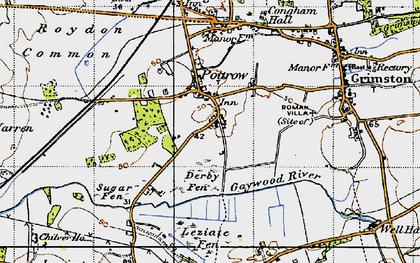 Old map of Leziate Fen in 1946