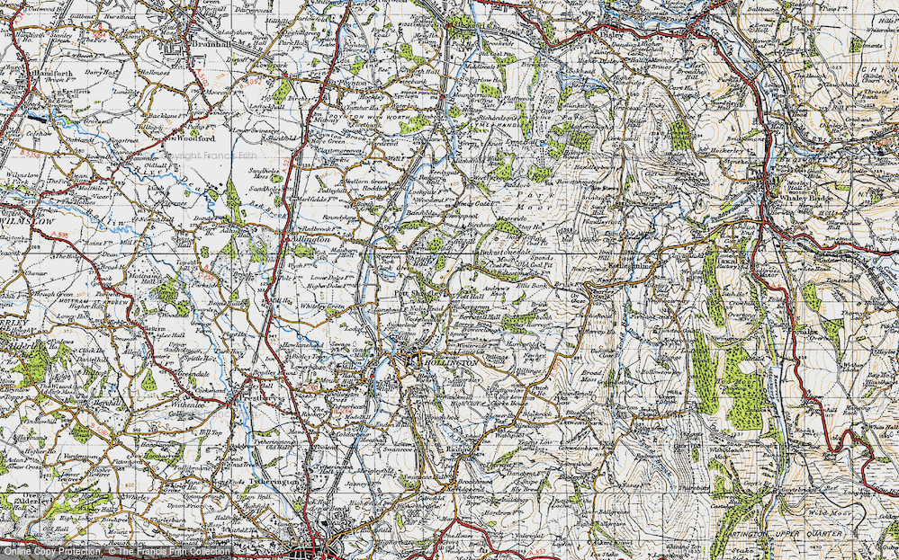 Old Map of Historic Map covering Bakestonedale Moor in 1947