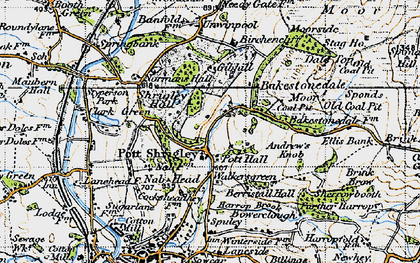 Old map of Bakestonedale Moor in 1947