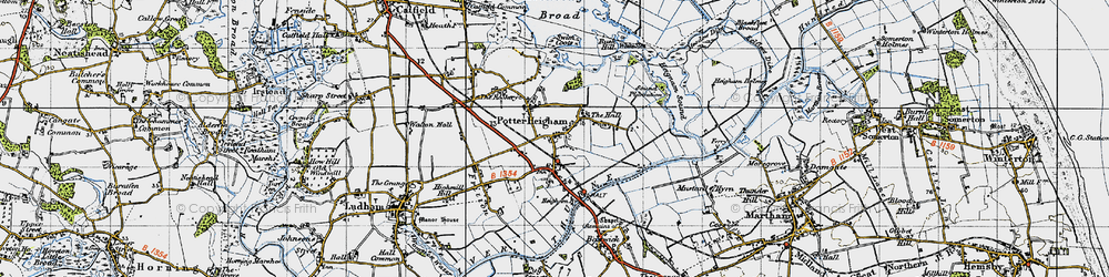 Old map of Potter Heigham in 1945