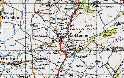 Old map of Potterne in 1940