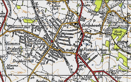 Old map of Potters Bar in 1946