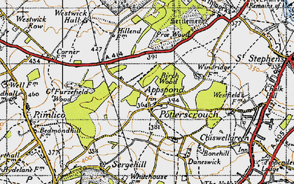 Old map of Potters Crouch in 1946