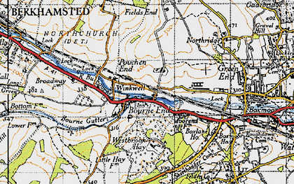 Old map of Pouchen End in 1946