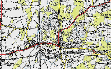 Old map of Pound Hill in 1940
