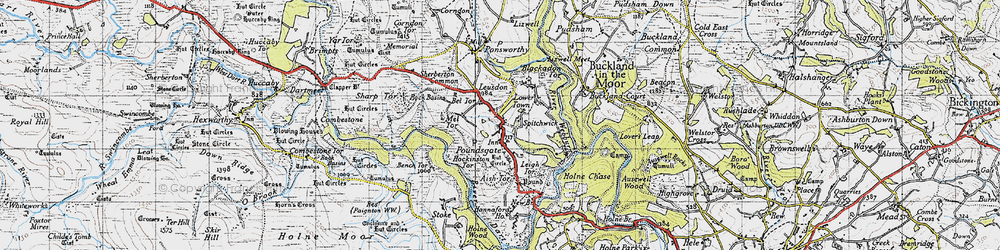 Old map of Aish Tor in 1946