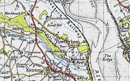 Old map of Powderham in 1946