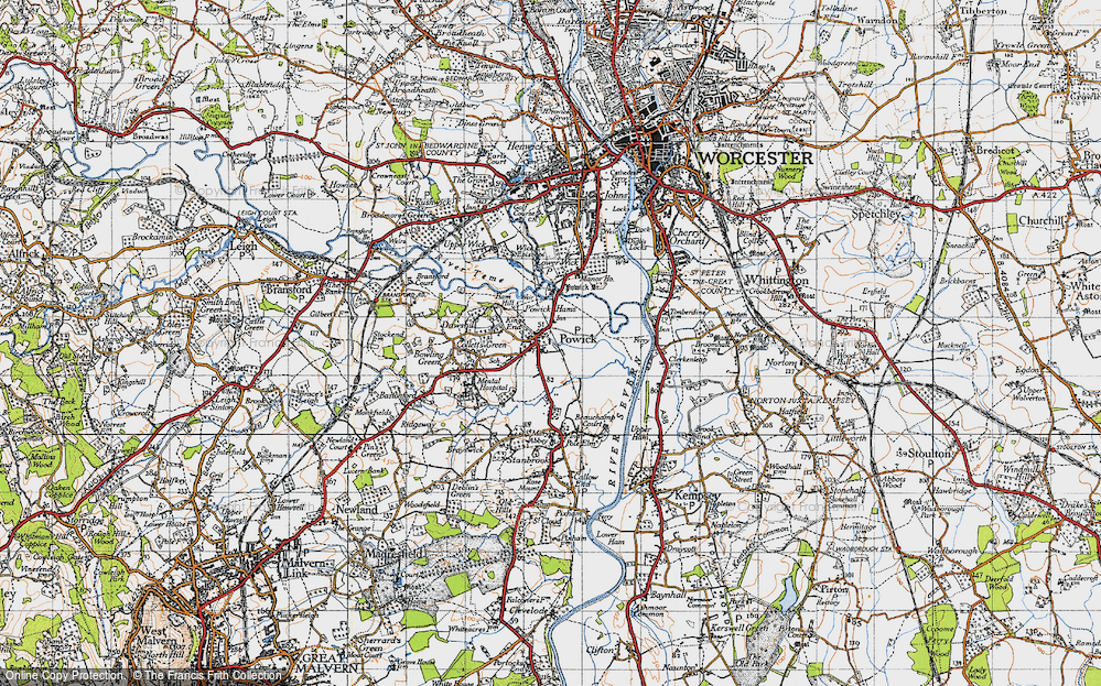 Old Map of Powick, 1947 in 1947
