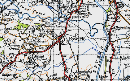 Old map of Powick in 1947