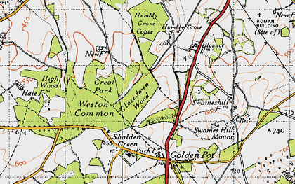 Old map of Weston Common in 1940