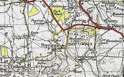 Old map of Poynings in 1940