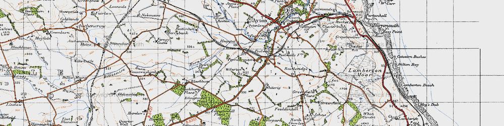 Old map of Westmains Moor in 1947