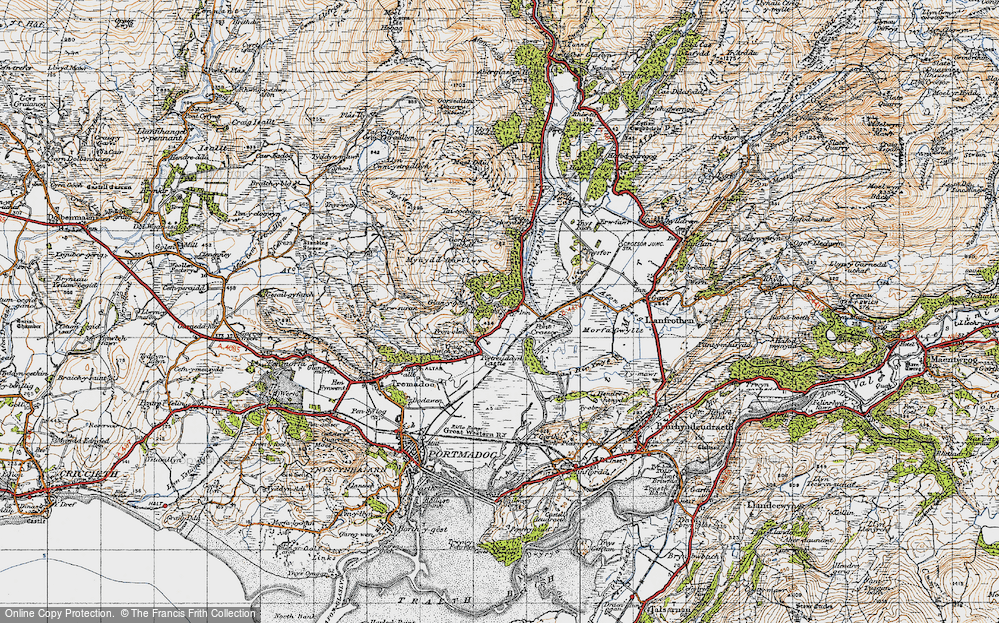 Old Map of Historic Map covering Afon Glaslyn in 1947