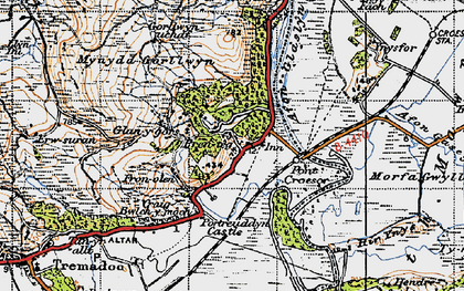 Old map of Afon Glaslyn in 1947