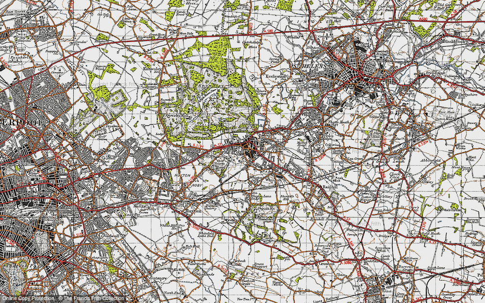 Old Map of Prescot, 1947 in 1947